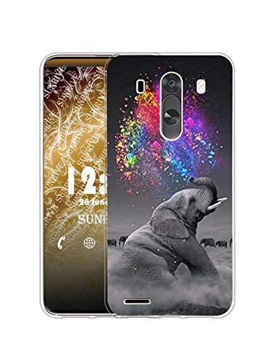Sunrive Funda Compatible con LG G3, Silicona Slim Fit Gel Transparente Carcasa Case Bumper de Impactos y Anti-Arañazos Espalda Cover(Q Elefante 2)