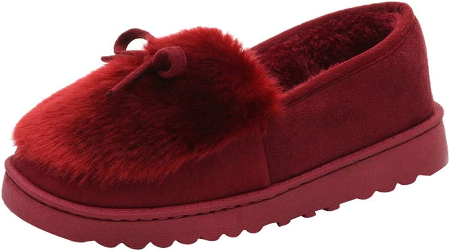 Fuxitoggo Frauen Casual Slip-On Bogen Low Cut Loafer Loafer Loafer Schuhe Stiefel Flache Form Schuhe Mode Plus Samt Schnee Stiefel (Farbe   Wine)  620efd