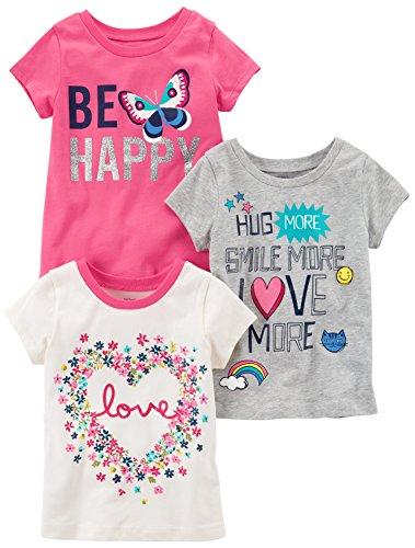 Carter's Big Girls' 3-Pack Short-Sleeved T-Shirt, White Love/Grey/Pink Butterfly, 8