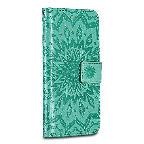Huawei P9 Lite Case Cover, Casake [Ripple] [High Quality Pu Leather] [Card Slot] [Wallet Leather Flip Case] for Huawei P9 Lite Case, Green