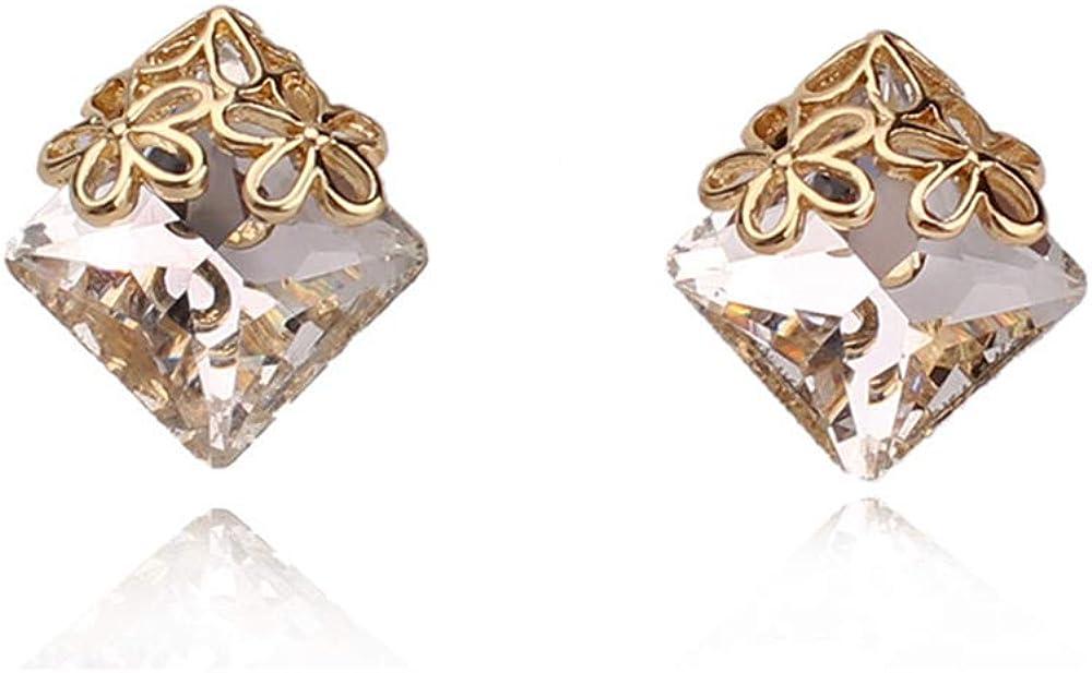 HAPPYAN Women's Bridal Wedding Crystal Clip on Earrings No Pierced for Women Charm Jewelry No Ear Hole Earrings