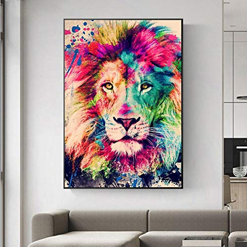 Leinwanddrucke Abstrakte Tiere Graffiti Kunst Löwe Leinwand Malerei Wandkunst Poster Und Drucke Wandbilder Für Wohnzimmer Home Decor Kein Rahmen 40x50cm