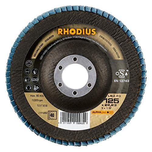 RHODIUS INOX Fächerschleifscheiben LSZ F3 Made in Germany Ø 125 mm K40 für Winkelschleifer Schleifmopteller 10 Stück