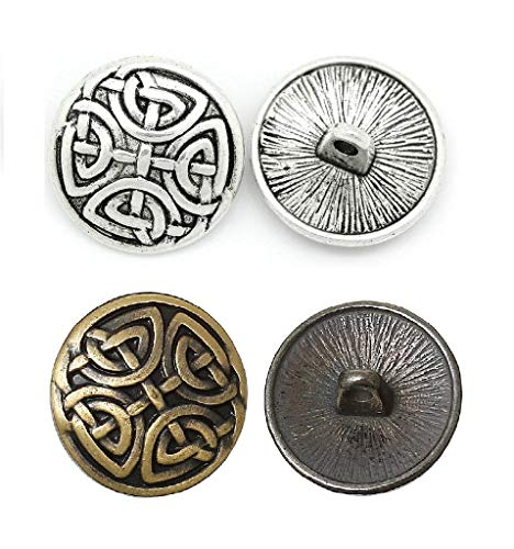 JGFinds Sewing Shank Button - 40 Pack, 2 Designs, 20 of Each, Celtic Knots, Single Shank on The Back, (Vary),Sewing and Jewelry Making Supplies
