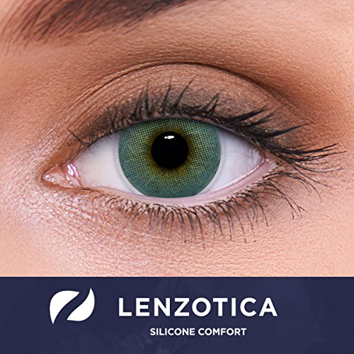 LENZOTICA Sehr stark natürlich deckende blaue Kontaktlinsen, SILICONE COMFORT farbig ATLANTIS BLUE + Behälter von LENZOTICA I 1 Paar (2 Stück) I DIA 14.00 I ohne Stärke I 0.00 Dioptrien
