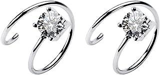 Cubic Zirconia Cuff Small Hoop Earrings Sterling Silver Dainty Crystal Cartilage Twist Crawler Wrap Huggie Earring Ear Piercing Hypoallergenic Sensitive Ears