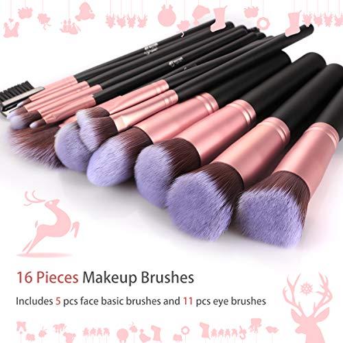 BESTOPE Makeup Brushes 16 PCs Makeup Brush Set Premium Synthetic Foundation Brush Blending Face Powder Blush Concealers Eyeshadow Brush Make up Brushes Set (Rose Golden)
