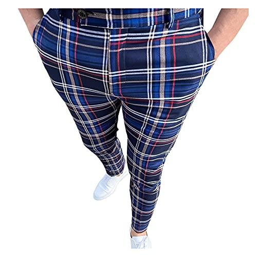 Men's Stretch Dress Pants Slim Fit Skinny Suit Pants Men's Classic Fit Dress Pant Flat Front Expandable-Waist Chino Pants Casual Business Plaid Slim Trousers Navy