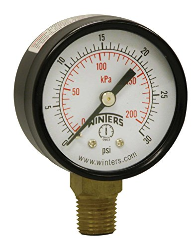 Winters PEM Series Steel Dual Scale Economical All Purpose Pressure Gauge with Brass Internals, 0-30 psi/kpa, 2' Dial Display, +/-3-2-3% Accuracy, 1/4' NPT Bottom Mount