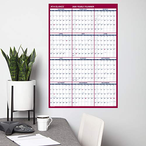 AT-A-GLANCE Large Dry Erase Wall Calendar 2020, Erasable, Monthly & Yearly Whiteboard Planner, Home Shool & Home Office Organization, 36 x 24, Double Sided, Vertical/Horizontal (PM26B28)