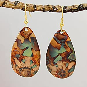 Flame Painted Copper Earrings – Green Tones