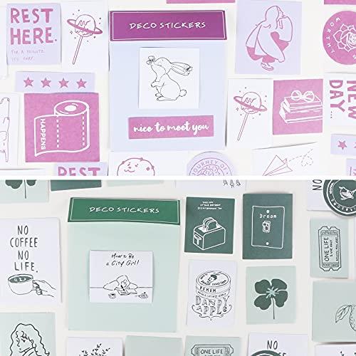 YOVOY 120枚 フレークシール 手帳ステッカー 韓国風 シール 手描き イラスト シンプル おしゃれ かわいい シール?スケジュール 手帳 ノート カレンダー ?2種類セット (緑、パープル)