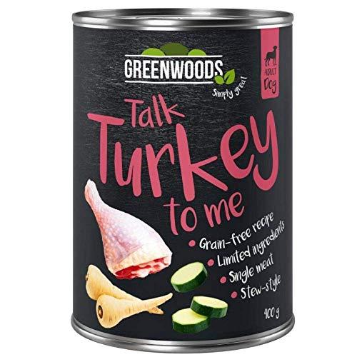 Greenwood Talk Trukey To Me 24 x 800 g Truthahn mit Pastinaken und Zucchini, Premium-Nassfutter, natürlich getreidefrei, für ausgewachsene Hunde, Hunde, starker natürlicher Körper und glänzendes Fell