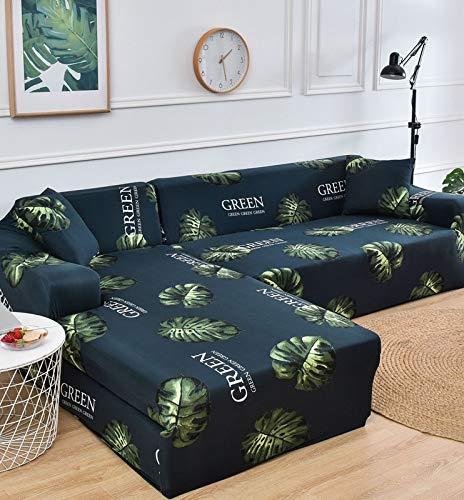 Fundas de sofá elásticas Impresas para Sala de Estar Funda de sofá Esquina en Forma de L Chaise Longue Sillón Sofá Funda A22 2 plazas