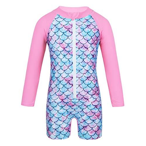 YOOJIA Baby Mädchen Badeanzug Langarm Meerjungfrau Fischschuppen Bademode Schwimmanzug UV-Schutz Rash Guard Badebekleidung Rosa 98-104