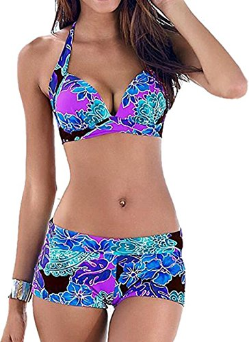 Bong Buy Women's Striped Push up Bikini Plus Size Two Piece Swimsuit with Underwire L Floral