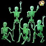 "JOYIN 5 PCS 14.75"" Halloween Glow In The Dark Skeleton Hanging Luminous Full Body Skeleton for Halloween Party Decorations, Indoor/Outdoor Spooky Scene Party Favors, Haunted House Accessories"