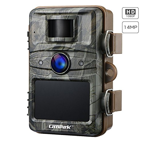 Campark Cámara de Caza 14MP 1080P HD Impermeable Trail Cámara con Invisible Visión Nocturna hasta 65ft/20M IP66 Cámara de Animal Salvaje con 2.4'' LCD Screen