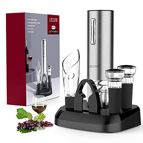 Lecone Electric Wine Opener, Automatic Cordless Rechargeable Opener Stainless Steel with Aerator & Pourer, Foil Cutter, Vacuum Stoppers, Display Charging Station Organizer Base Wine Coaster Gift Set