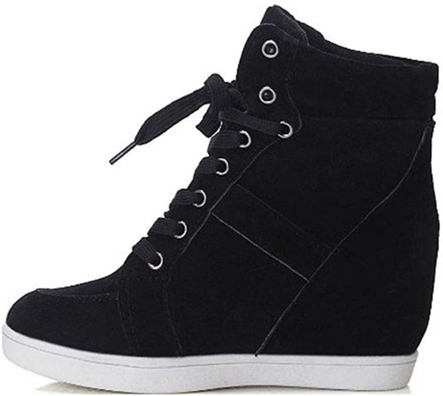 Women Height Increasing Platform Sneakers Wedges Casual shoes Woman Lace-up High Top Genuine Suede shoes Black 7 M US