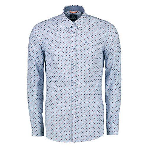 LERROS Men 2971111 361 Herren Hemd mit Button-Down-Kragen Brusttasche aus Baumwolle, Groesse 50/52, hellblau/rot Gemustert