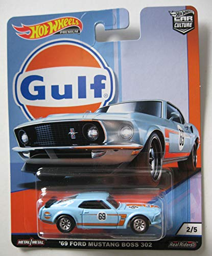 Hot Wheels HWFPY86-2 Gulf Series Ford Mustang Boss 302 1969 1:64 Die Cast Model Compatible con