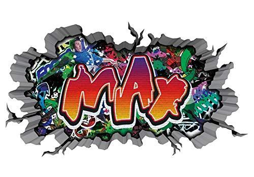 3D Wandtattoo Graffiti Wand Aufkleber Name MAX Wanddurchbruch sticker Boy selbstklebend Wandsticker Jungenddeko Kinderzimmer 11MD734, Wandbild Größe F:ca. 140cmx82cm