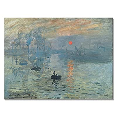 Wieco Art Sunset Giclee Canvas Prints of Claude Monet Oil Paintings Artwork for Wall Decor Modern Seaview Canvas Wall Art for Home and Office Decoration MON-0280-PA