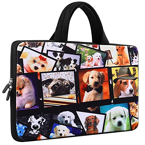 ICOLOR 14 15 15.4 15.6 inch Laptop Handle Bag Computer Protect Case Pouch Holder Notebook Sleeve Neoprene Cover Soft Carring Travel Case Laptop Tote Bag Puppy ICB-08