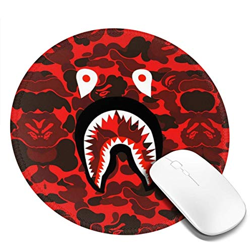 Ba-pe Red Camo Shark Face Mousepad Non-Slip Rubber Gaming Mouse Pad Mouse Pads for Computers Laptop 8.0x8.0 in