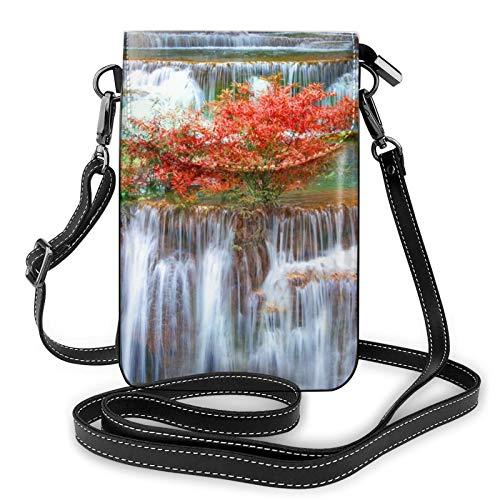 Bolso de cuero ligero para teléfono celular, cascada, otoño, paisajes, pequeñas bolsas cruzadas, bolsa de hombro, cartera para mujer, color Negro, talla Talla única
