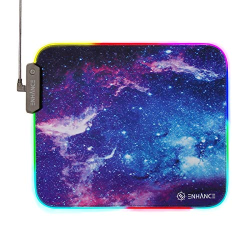 ENHANCE Large RGB Gaming Mouse Pad XL with LED Lighting (13.3 X 10.8 inches) - Desk Mat Mousepad with 7 Color Options , 3 Lighting Effects , Smart Control Button , Non-Slip Rubber Grip - Galaxy