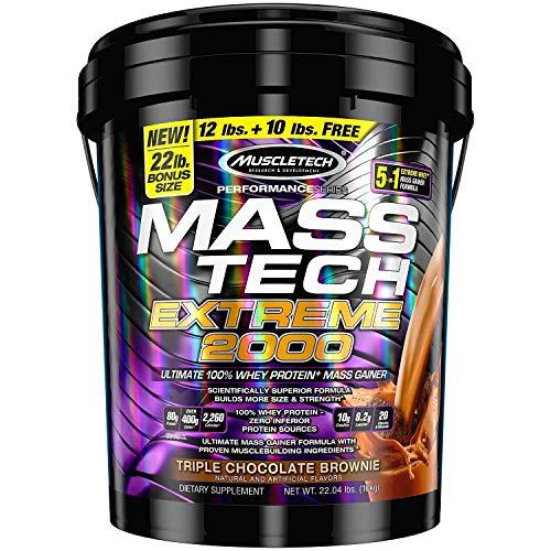 Mass Gainer Protein Powder | MuscleTech Mass-Tech Extreme 2000 | Muscle Builder Whey Protein Powder | Protein + Creatine + Carbs | Max-Protein Weight Gainer for Women & Men | Chocolate, 22 lbs