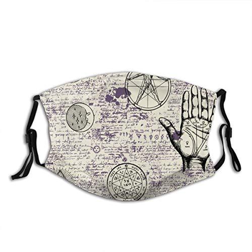ZORMIEY Face Cover Mystik, Magie, Religion und Okkultismus mit verschiedenen esoterischen und freimaurerischen Symbolen Wiederverwendbare Anti-Staub-Mund-Bandanas mit 2 Filtern
