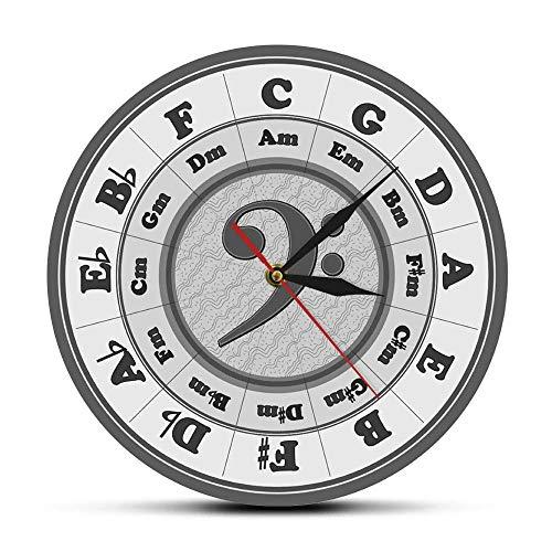 rrff Bass Clef Kreis Von Fifths Arbeitsblatt Wanduhr Hause Décor Musik Key Harmonie Theorie Wand Uhr Musiker Komponist Künstler Geschenk-No_Frame
