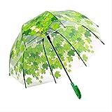 GJJDF Forme de Champignon Transparente Unbrellas Parapluies à Bulles Feuille d'érable Feuille Verte Motif Coupe-Vent Coupe-Vent Coupe-Vent Longue poignée Vert