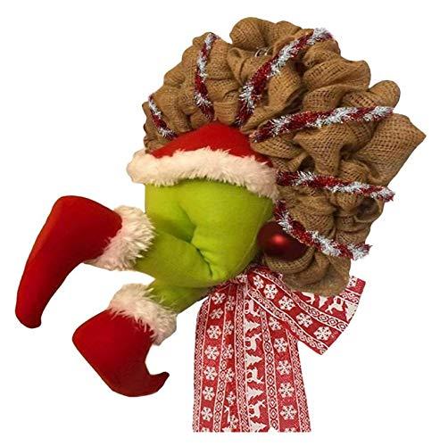 YYQIANG Decoraciones de la guirnalda de Navidad de la guirnalda de Navidad, cmo el ladrn rob la corona de la arpillera de la Navidad, las decoraciones de los rboles de Navidad adornos colgantes de