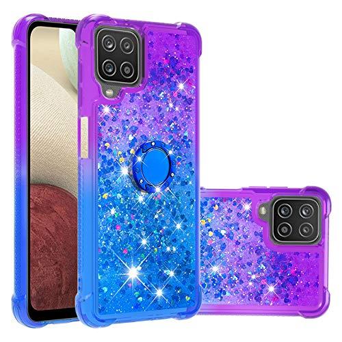 Arena Movediza Funda para Samsung Galaxy A12, Niñas Mujeres Liquida Glitter Cristal Fundas, TPU Bumper con Anillo Soporte Carcasas (Púrpura & Azul Gradiente)