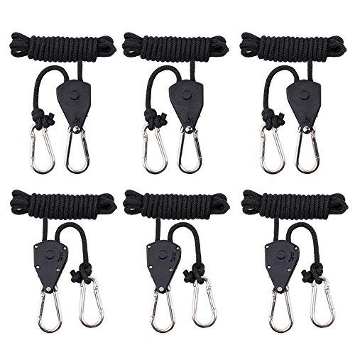 maxsisun 3-Paar 1/20,3cm verstellbar Heavy Duty Seil Clip Kleiderbügel, Grow Light Ratsche Kleiderbügel, 68kg Gewicht Kapazität
