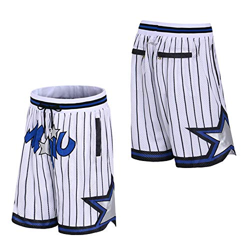 Generics Herren Basketball Shorts # Orlando Magic Retro Jersey Shorts, Stickerei, schnell trocknend, doppelter Stoff, atmungsaktive Memorial Shorts, L