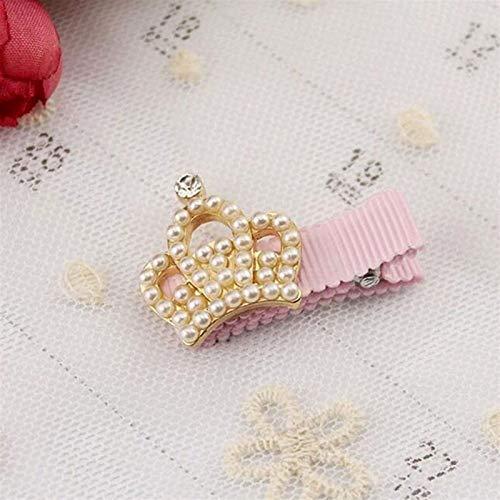 YSJJQSC Clips de Pelo Moda Linda niña Perla Rhinestone Bowknot Clip de Pelo Crown Flower Bebé Pelo Accesorios de Pelo Regalo para niño (Color : Crown)