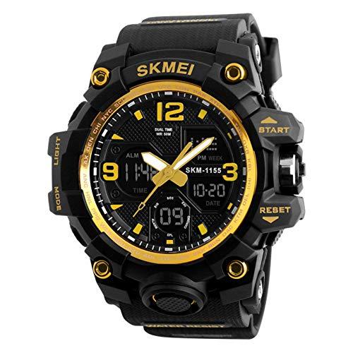 JTTM Hombre Relojes, Al Aire Libre Deportes Multifuncional Analógico Y Digital Deporte Relojes LED Relojes De Pulsera Men Watches,Oro