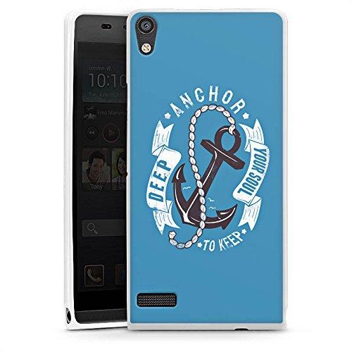 DeinDesign Cover kompatibel mit Huawei Ascend P6 Hülle Silikon Hülle Schutz Anker Seefahrer Maritim