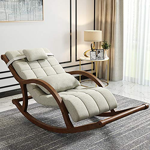 Rocking Chair for Adults, Solid Wood Rocking Chair Recliner, Living Chair Sofa Rest Home Balcony Single Leisure High Resilience Nap Sponge Chair,A