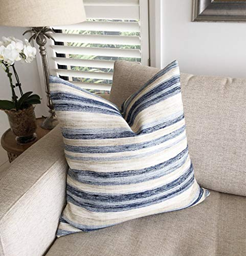 Hose233 Funda de cojín a rayas Funda de almohada estilo costero Cojines azul marino Denim Azul Crema Marfil Nautica Cojines Toss Pillows16x16