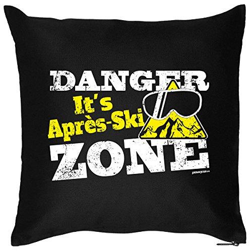 Super Skihütten Kissen (mit Füllung) : DANGER ! Its Apres Ski Zone! cooles Motiv von Goodman Design