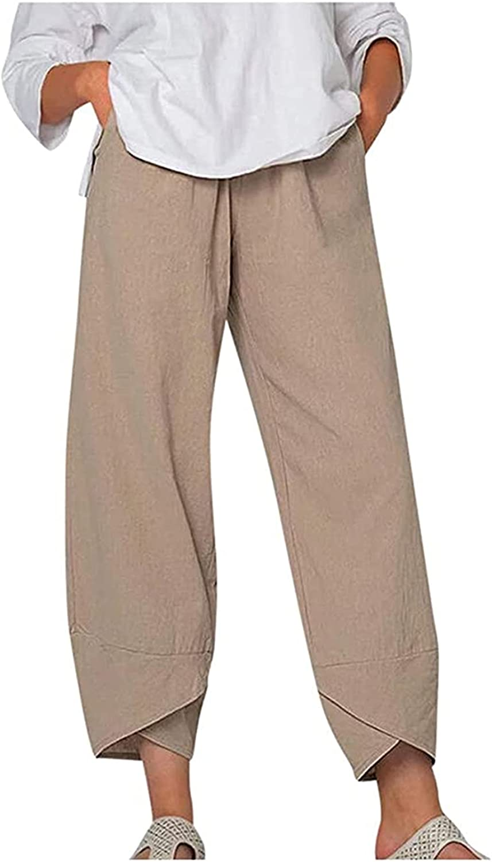 MyKrazyTees Women Casual Capri Pants Plus Size Printed Wide Leg Pants Summer/Autumn Linen Crop Pants with Pockets