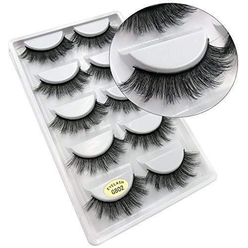 5 Paires 3D Naturel Faux Cils Réutilisable Moelleux Bande D'Oeil Cils Longue Extension -Faux Cils Pour Maquillage Quotidien, Soirée, Mariage, Fête-G802