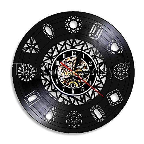 YDDLIE Reloj de Pared con Registro de Vinilo de Arte de Pared Hecho a Mano de Diamante Simple Reloj de Pared Luminoso Reloj de Pared con Anillo de Diamantes Reloj Art Deco Reloj de Tiempo