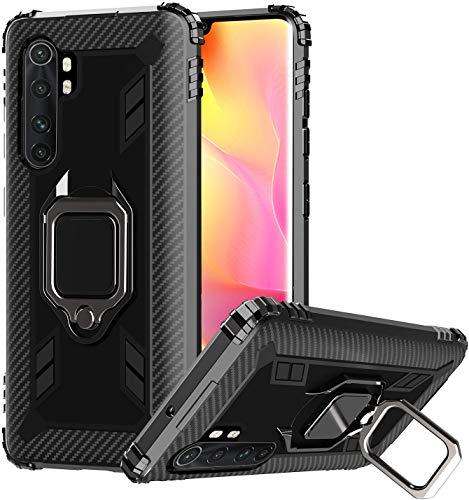 PaceBid Funda Compatible con Xiaomi Mi Note 10 Lite con Anillo,[Rotación de 360 Grados][Antiarañazos][Soporte de Montaje Magnético del Coche] Funda Protectora de TPU de Cuerpo Completo - Black